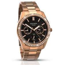 Sekonda Ladies Rose Gold Tone Day Date Crystal Bracelet Watch 2158