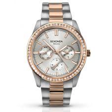 Sekonda Ladies Two Tone Silver Tone Day Date Crystal Bracelet Watch 2162