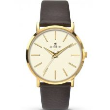Accurist Ladies Brown Leather Strap Watch 8105