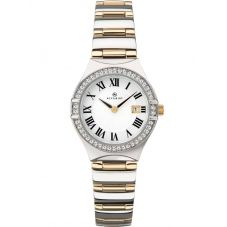 Accurist Ladies Two Tone Stone Set White Watch 8204