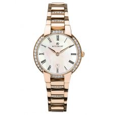 Accurist Ladies Signature Rose Gold Plated Mother Of Pearl Dial Bracelet Watch 8299