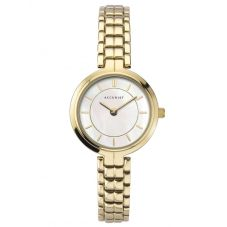 Accurist Ladies Classic Gold Plated Mother Of Pearl Dial Bracelet Watch 8301