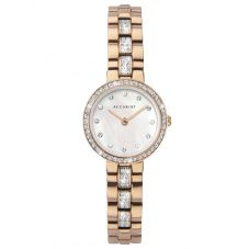 Accurist Ladies Classic Gold Plated Mother Of Pearl Stone Set Bracelet Watch 8310