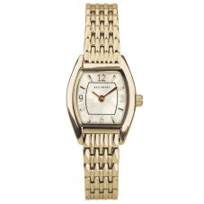 Accurist Ladies Classic Gold Plated Champagne Mother Of Pearl Dial Tonneau Bracelet Watch 8326