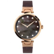 Accurist Ladies Contemporary Rose Gold Plated Burgundy Mother of Pearl Dial Mesh Strap Watch 8306