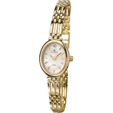 Accurist Ladies 9ct Gold Oval Pink Mother Of Pearl Dial Bracelet Watch 8803