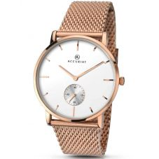 Accurist Mens Rose Gold Plated Mesh Bracelet Watch 7128