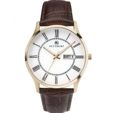 Accurist Mens Gold Plated Brown Strap Watch 7237