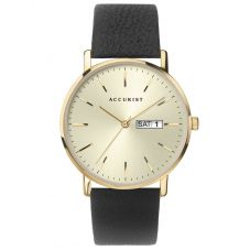 Accurist Mens Contemporary Gold Date Dial Black Leather Strap Watch 7297