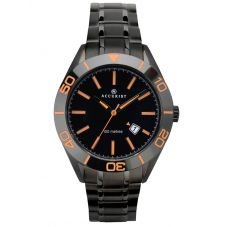 Accurist Mens Signature Black And Orange Dial Bracelet Watch 7224