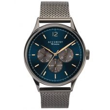 Accurist Mens Contemporary Blue and Grey Day Date Dial Mesh Strap Watch 7285