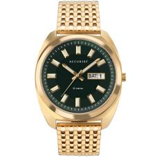 Accurist Mens Retro Inspired Gold Plated Green Dial Bracelet Watch 7335