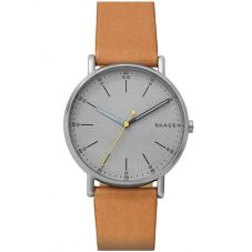 Skagen Mens Signatur Stainless Steel Grey Dial Tan Brown Leather Strap Watch SKW6373