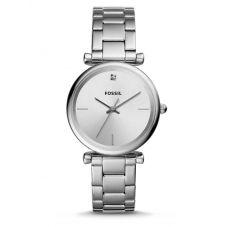 Fossil Ladies Carlie Stainless Steel Silver Dial Bracelet Watch ES4440