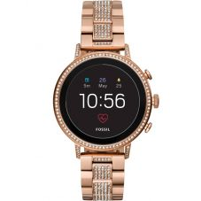 Fossil Ladies Rose Gold Plated Gen 4 Venture Crystal Set Bracelet Smartwatch FTW6011