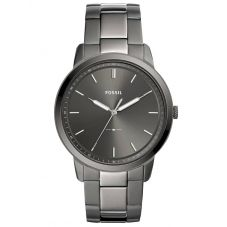 Fossil Mens Minimalist Stainless Steel Grey Dial Smoke Bracelet Watch FS5459