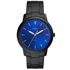Fossil Mens Minimalist Stainless Steel Blue Dial Black Bracelet Watch FS5693