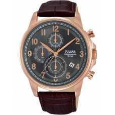 Pulsar Mens Rose Gold Plated Brown Dress Watch PM3083X1