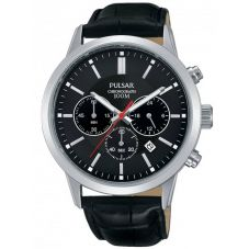 Pulsar Mens Stainless Steel Black Chronograph Dial Leather Strap Watch PT3751