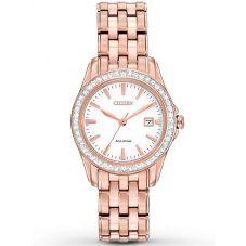 Citizen Ladies Silhouette Crystal Rose Tone Bracelet Watch EW1903-52A