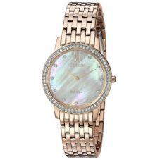 Citizen Ladies Silhouette Crystal Rose Tone Mesh Bracelet Watch EX1483-50D