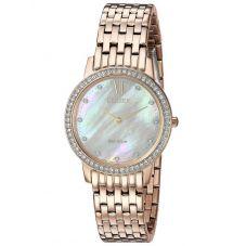 Citizen Ladies Silhouette Crystal Rose Tone Mesh Bracelet Watch EX1483-50D