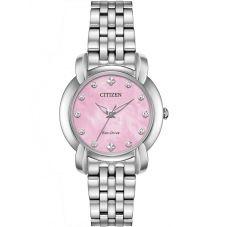 Citizen Ladies Jolie Diamond Pink Dial Bracelet Watch EM0710-54Y