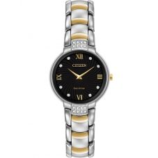 Citizen Ladies Silhouette Diamond Black Dial Two Tone Bracelet Watch EX1464-54E