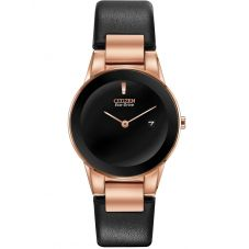 Citizen Ladies Axiom Rose Gold Plated Black Dial Leather Strap Watch GA1058-16E