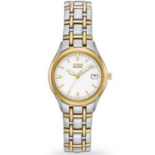 Citizen Ladies Silhouette White Dial Stainless Steel Gold Plated Two Tone Bracelet Watch EW1264-50A