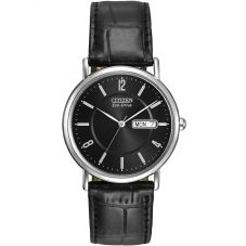 Citizen Mens Stiletto Black Leather Strap Watch BM8240-03E