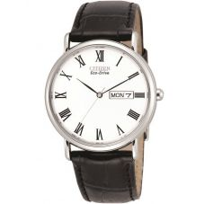 Citizen Mens Stiletto Black Leather Strap Watch BM8240-11A