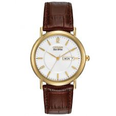 Citizen Mens Stiletto Gold Plated Brown Leather Strap Watch BM8242-08A