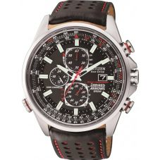 Citizen Mens World Chrono A-T Red Arrows Leather Strap Watch AT8060-09E