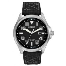 Citizen Mens Military Black Fabric Strap Watch AW1410-08E