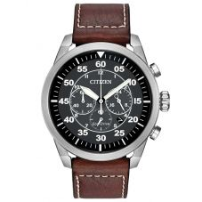 Citizen Mens Avion Brown Leather Strap Watch CA4210-24E