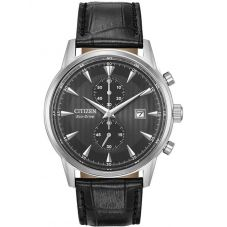 Citizen Mens Corso Bicompax Chronograph Black Leather Strap Watch CA7000-04H