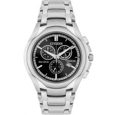 Citizen Mens Eco-Drive Titanium Black Chronograph Dial Bracelet Watch AT0940-50F
