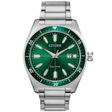 Citizen Mens Eco-Drive Green Dial Bracelet Watch AW1598-70X