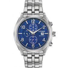 Citizen Mens Titanium Eco-Drive Blue Chronograph Dial Bracelet Watch CA0670-51L