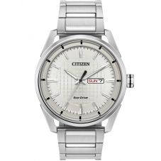 Citizen Mens Eco-Drive Silver Day Date Dial Stainless Steel Bracelet Watch AW0080-57A
