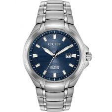 Citizen Mens Super Titanium Blue Date Dial Bracelet Watch BM7431-51L