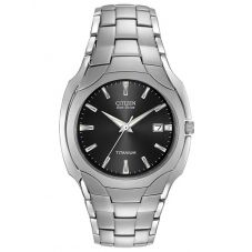 Citizen Mens Titanium Eco Drive Black Date Dial Bracelet Watch BM7440-51E