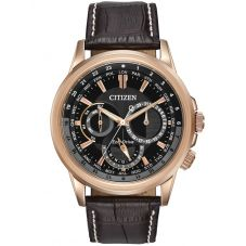Citizen Mens Calendrier Rose Gold Plated Black Day Date Dial Brown Leather Strap Watch BU2023-04E