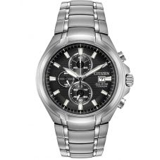 Citizen Mens Super Titanium Black Chronograph Dial Bracelet Watch CA0700-86E