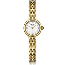 Rotary Ladies Balmoral Gold Plated Diamond Set White Dial Bracelet Watch LB05153/02/D