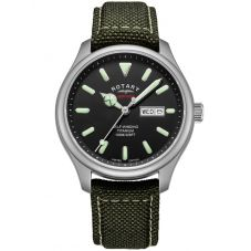Rotary Mens Limited Edition Heritage Automatic Titanium Khaki Fabric Strap Watch GS05249/04