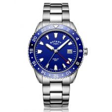 Rotary Mens Henley GMT Stainless Steel Blue Dial Bracelet Watch GB05108/05