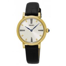 Seiko Ladies Discover More Gold Plated Black Leather Strap Watch SFQ814P2