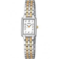 Seiko Ladies Discover More Rectangular Two Tone Bracelet Watch SXGL61P9